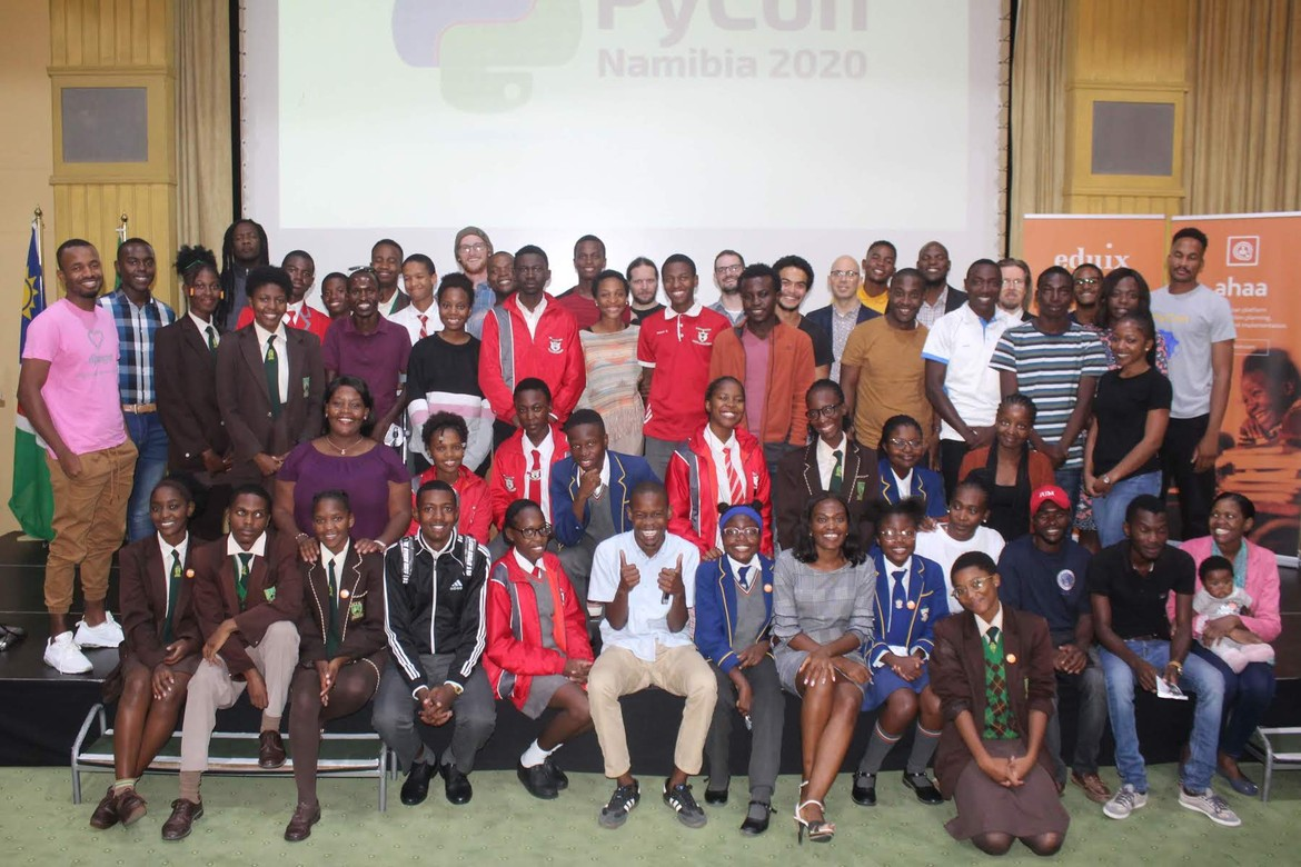 Group picture at PyCon Namibia 2020